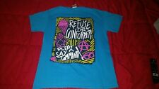 Refuse the conformity please say a command blue t-shirt blue Medium