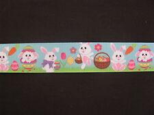 "easter egg bunny rabbit blue grosgrain ribbon 7/8"" per 1 m hair scrapbook cards"