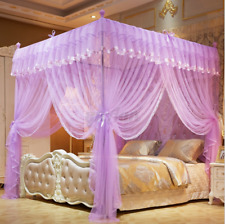 Luxury 4 Corner Post Bed Canopy Mosquito Net Full Queen King Size Netting Bed *