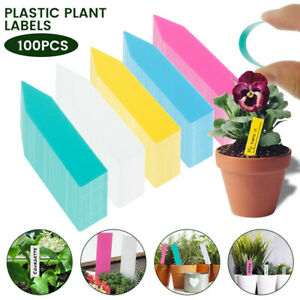 100x Plastic Plant Pot Markers Tag Gardening Stake Tags Nursery Seed Labels
