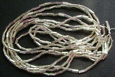 GORGEOUS GLEAMING VINTAGE MATTE SILVER-LINED GLASS BUGLE BEADS