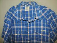 Lucky Brand Royal Blue Plaid Short Sleeve Western Cowboy 100% Cotton Shirt 2XL