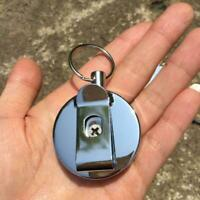 Stainless steel Tool Belt Retractable Key Recoil Ring Clip Chain Keys Pull Z9Y3