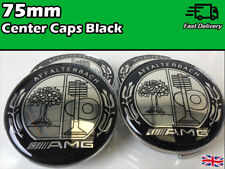 4x Alloy Wheel Centre Caps For Mercedes Black AMG affalterbach Badge Emblem 75mm