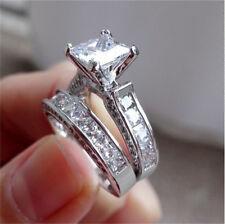 Fashion Jewelry Silver White Sapphire Gemstone Wedding Bridal Ring Set Size 7