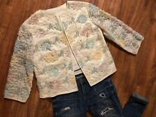 Vintage 50s 60s Beaded Jacket Cardigan Sequins Lace 3/4 Sleeves Pastels Sz Small