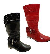 Scarpe Stivali in pelle rossa per bambine dai 2 ai 16 anni