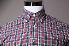 Men's Gitman Bros Vintage Pale Rust Red / Blue Checkered Plaid Shirt Sz Medium M