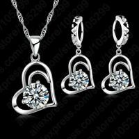 Heart Set Necklace Pendant Earrings Heart Necklace Rope Chain Gifts