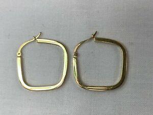 "14k Yellow Gold 1"" Squared Hoop Earrings"