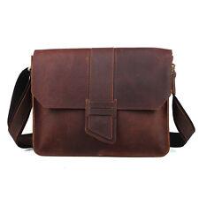 Men's Vintage Small Post Satchel Real Leather Shoulder Messenger Bag Sling Bag