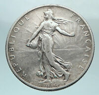 1898 FRANCE Antique Silver 2 Francs French Coin w La Semeuse Sower Woman i81048