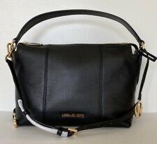 New Michael Kors Brooke Medium Shoulder Bag Pebble Leather Black
