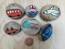 STORY STONES  TRANSPORT Hand Painted Pebbles X6 FOREST SCHOOL LITERACY EDUCATION