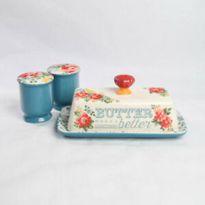 Pioneer Woman Teal Vintage Floral Butter Keeper Dish with Salt Pepper Shakers