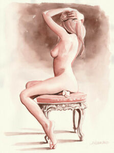 Original Aquarell 30x40, Zeichnung, Venetian Red 3, Akt, nu, nude, Erotik Akt