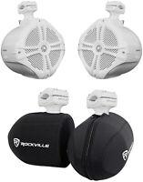 "2 Rockville RWB90W White 8"" 360° Swivel Marine Wakeboard Tower Speakers+Covers"