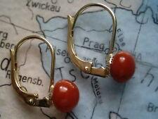 Korallen Ohrhänger kurz Gold 585, Ohrhänger Gold 585 mit roter Edelkoralle 7 mm