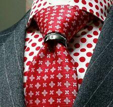 Mens neck tie ring tungsten tone Presidents Tie Bling clip tack Swarovski groom