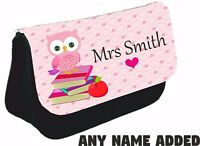 Personalised owl teacher gift teaching assistant thank you Pencil Case school