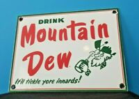 VINTAGE MOUNTAIN DEW PORCELAIN GAS SODA BEVERAGE BOTTLES SERVICE STATION SIGN