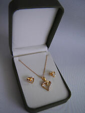 SILVER 925 GOLD COLOUR HEART PENDANT & MATCHING EARRINGS  NEW