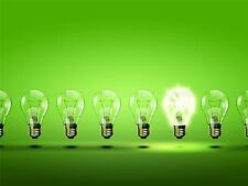 PAINTING ILLUSTRATION GREEN LIGHT BULB BRIGHT ENERGY ART PRINT POSTER MP3120A