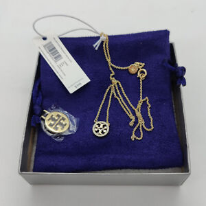 New Tory Burch Pave Logo Short Choker Necklace in Gold w/ card and pouch