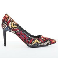 VALENTINO SS14 red ethnic embroidery black lace rockstud pointy pumps shoes EU39