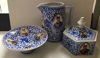 Antique 1920 Russian/Soviet Propaganda Porcelain Plate Bowl Pitcher Budyansky