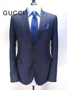 GUCCI blazer wool silk sport coat suit jacket navy blue dot peak lapel slim 40R