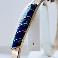 Vintage 925 Sterling Silver Handmade Beautiful Blue Green Inlay Design Bracelet