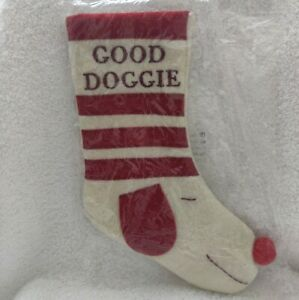 """Good Doggie Christmas Stocking Red White 9.5"""" New in Package by Chesapeake Bay"""