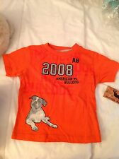 Boys Orange 100% Cotton American Bull Dog T-shirt - Size 2T (NWT)