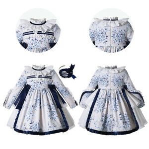 Flower Girls Wedding Dresses Party Clothes Ruffled Autumn Long Sleeve White