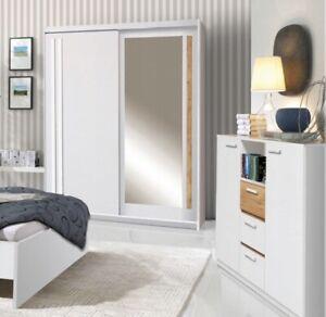 2 Door Mirrored Sliding Wardrobe.WHITE/ANDERSEN EF1-150. EFFECT. BRAND NEW