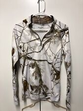 Realtree APC Snow Camouflage Quarter Zip Pullover Stretch Poly Top Size S 34-36