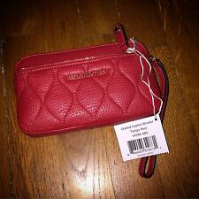 NEW Vera Bradley Quilted Sophie Wristlet! Tango Red Leather W/Bag Case WOW!