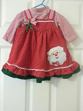 RARE EDITIONS SANTA CLAUS CHRISTMAS DRESS JUMPER HOLIDAY STRIPE SET 9-12 MONTHS