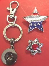 Giant Enamel Rhinestone 20mm Flag Colors Silver Star Snaps KEYCHAIN to NECKLACE