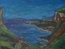 Peintures du XXe siècle et contemporaines sur panneau en paysage marin, bateau