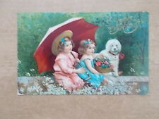 VINTAGE 1908 POSTCARD - A HAPPY BIRTHDAY - LITTLE GIRLS WITH POODLE