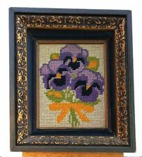 Vintage Completed Needle Point Purple Flower Framed 7' x 6' circa 1970's