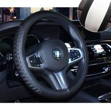 Black Embossed PU leather Car Steering Wheel Cover 37-38cm Universal All Seasons