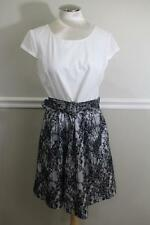 BETSEY JOHNSON Women's White and Black Lace Pleated Belt Dress Size 12 (r10000