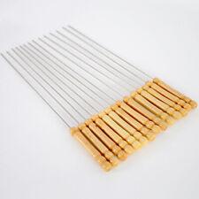 8pcs BBQ Kebab Skewers Wooden Handel Stainless Steel Metal Wooden Handle Healthy