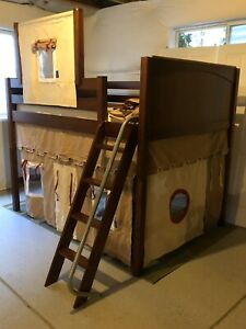Maxtrix Full Size Mid Loft Bed Set With Fun Castle Canopy