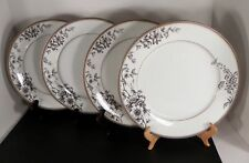 Nikko NIGHTINGALE Dinner Plate (s) LOT OF 4 Black and White Fine China