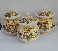 Tris barattoli sale zucchero caffè bombati  in ceramica di Vietri decoro AUSTRIA