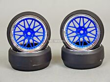 RC 1/10 DRIFT WHEELS Package 0 Degree 3MM Offset 3 PIECE BLUE / CHROME Lip